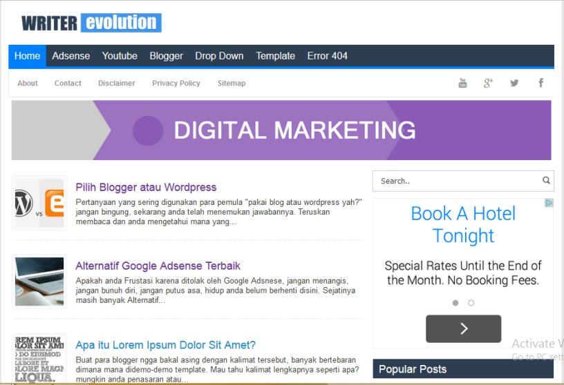 Writer Evolution High CTR Responsive Blogger Template Softdews - Blog privacy policy template